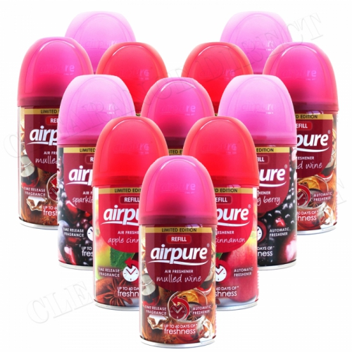 12 X AIRPURE FRESHMATIC AUTOMATIC SPRAY REFILLS 250ML CHRISTMAS SCENTS AIRWICK £16.99