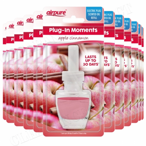 12 X AIRPURE PLUG-IN REFILL MOMENTS APPLE CINNAMON FITS ALL LEADING BRANDS