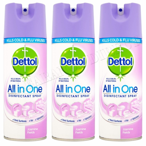 3 X DETTOL ALL IN ONE DISINFECTANT SPRAY 400ML JASMINE FIELD KILL 99.9% BACTERIA