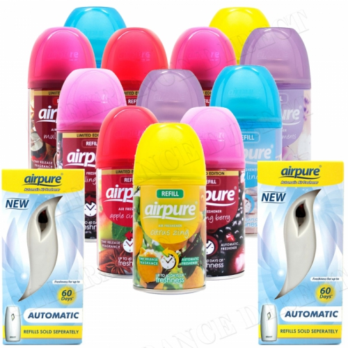 12 X AIRPURE FRESHMATIC SPRAY REFILLS MIXED SCENTS 2 MACHINES AIRWICK COMPATIBLE