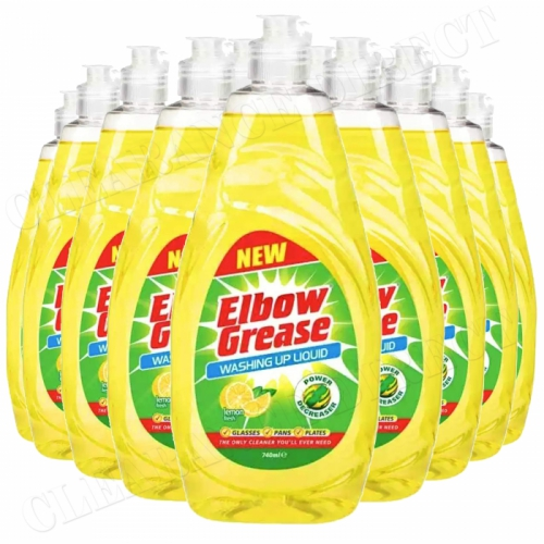 12 Elbow Grease Washing Up Liquid 740ml Remove Stubborn Food Deposits In No Time