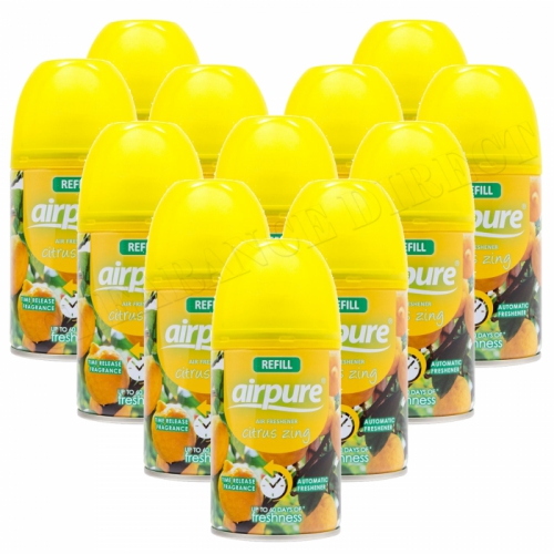 12 X AIRPURE FRESHMATIC AUTOMATIC SPRAY REFILLS 250ML CITRUS ZING AIRWICK