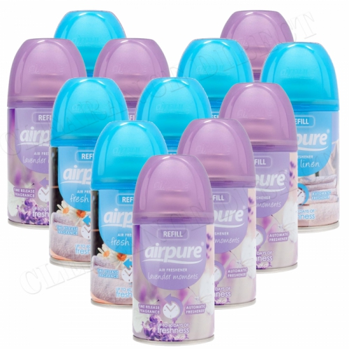 12 X AIRPURE FRESHMATIC AUTOMATIC SPRAY REFILLS 250ML LAVENDER & LINEN AIRWICK