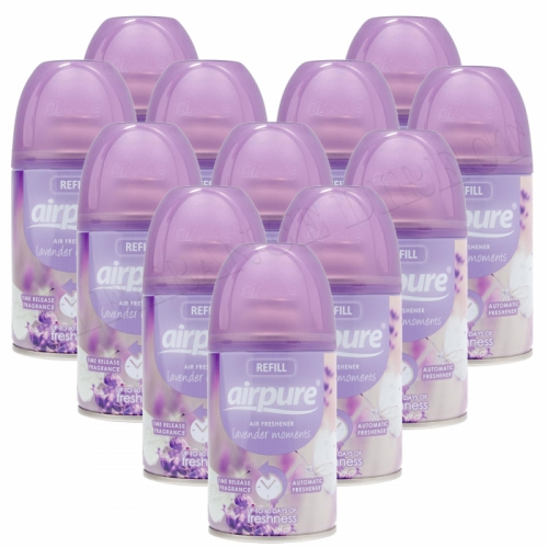 12 X AIRPURE FRESHMATIC AUTOMATIC SPRAY REFILLS 250ML LAVENDER MOMENTS AIRWICK