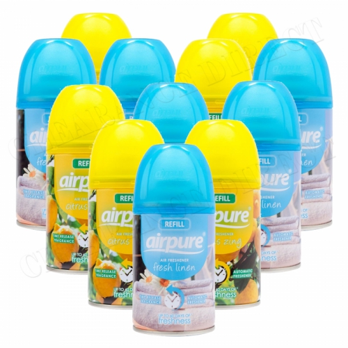 12 X AIRPURE FRESHMATIC AUTOMATIC SPRAY REFILLS 250ML LINEN & CITRUS AIRWICK