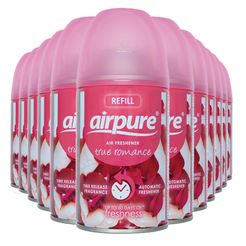 12 X AIRPURE FRESHMATIC AUTOMATIC SPRAY REFILLS 250ML TRUE ROMANCE