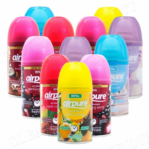 12 X AIRPURE FRESHMATIC AUTOMATIC SPRAY REFILLS MIXED SCENTS 250 ML AIRWICK COMPATIBLE