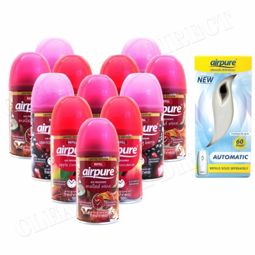 12 X AIRPURE FRESHMATIC SPRAY REFILLS 250ML CHRISTMAS SCENTS + MACHINE