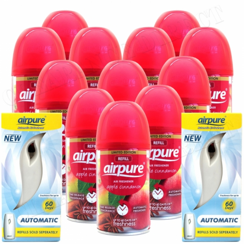 12 X AIRPURE FRESHMATIC SPRAY REFILLS APPLE CINNAMON + 2 MACHINES AIRWICK COMPATIBLE