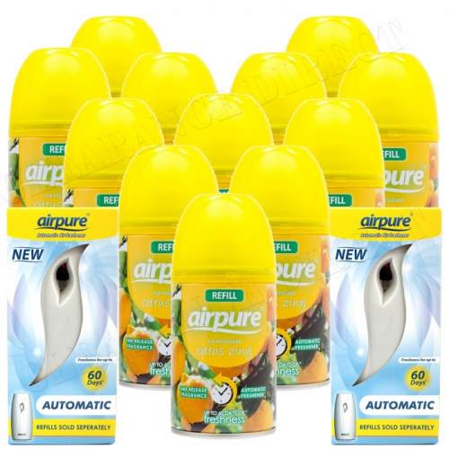 12 X AIRPURE FRESHMATIC SPRAY REFILLS CITRUS ZING+ 2 MACHINES AIRWICK COMPATIBLE