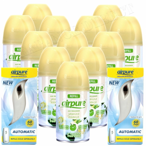12 X AIRPURE FRESHMATIC SPRAY REFILLS JASMINE + 2 MACHINES AIRWICK COMPATIBLE