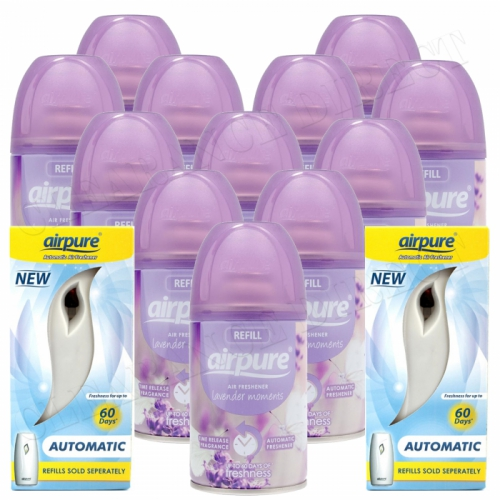 12 X AIRPURE FRESHMATIC SPRAY REFILLS LAVENDER + 2 MACHINES AIRWICK COMPATIBLE