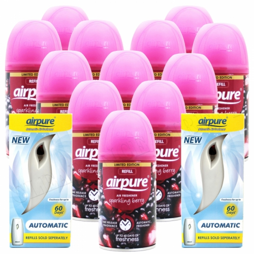 12 X AIRPURE FRESHMATIC SPRAY REFILLS SPARKLING BERRY + 2 MACHINES AIRWICK COMPATIBLE