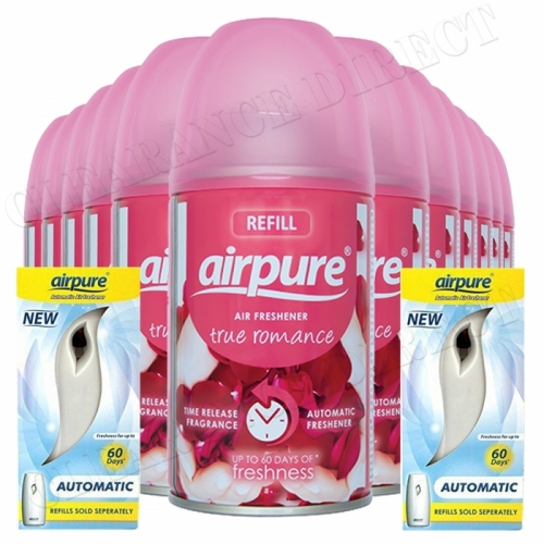 12 X AIRPURE FRESHMATIC SPRAY REFILLS TRUE ROMANCE 2 MACHINES AIRWICK COMPATIBLE