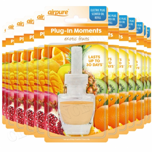 12 X AIRPURE PLUG-IN REFILL MOMENTS EXOTIC FRUIT FITS AIR WICK PLUG IN