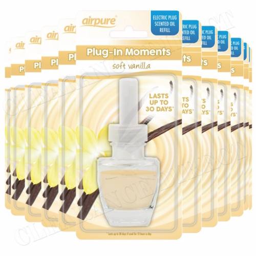 12 X AIRPURE PLUG-IN REFILL MOMENTS SOFT VANILLA FITS AIRWICK PLUG IN