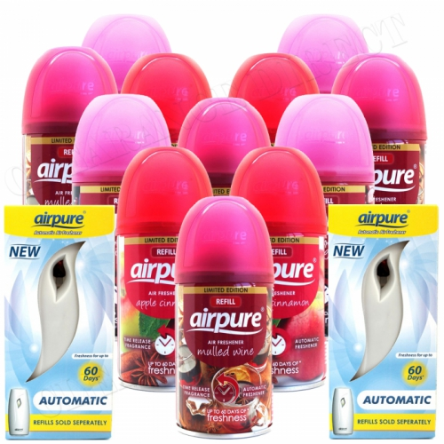 12 X AIRPURE SPRAY REFILLS CHRISTMAS SCENTS + 2 MACHINES AIRWICK COMPATIBLE