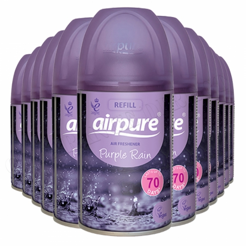 12 x AIRPURE PURPLE RAIN REFILL CAN/TIN AUTOMATIC FRAGRANCE AIR FRESHENER 250ml