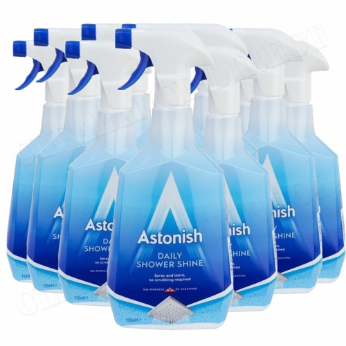 12 x Astonish Daily Shower Shine Cleaner Fresh Ocean Scent 750ml Trigger Spray