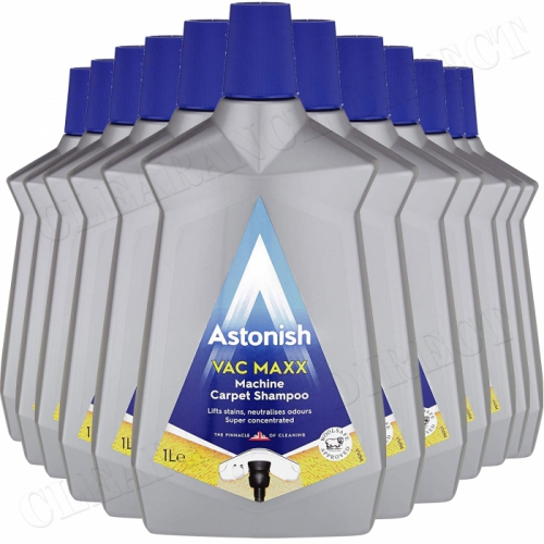 12 x Astonish Vac Maxx Machine Carpet Shampoo 1 Litre