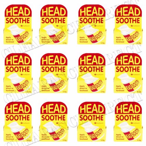 12 x HEAD SOOTHE FOREHEAD TEMPLE STICK BALM 3.6g FAST RELIEF FROM HEADACHES