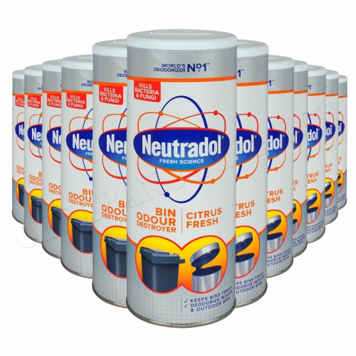 12 x NEUTRADOL DUSTBIN ODOUR DESTROYER KITCHEN BIN FRESHENER 350g CITRUS FRESH