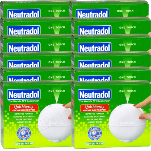 12 x NEUTRADOL ONE TOUCH QUICK SPRAY ODOUR DESTROYER SUPER FRESH