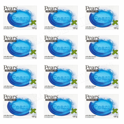 12 x NEW PEARS BLUE GERM SHIELD SOAP WITH MINT EXTRACT DERMATOLOGIST TESTED 125g