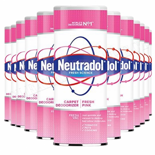 12 x Neutradol Fresh Pink Carpet Odour Destroyer Air Freshner Vac n Clean 350g