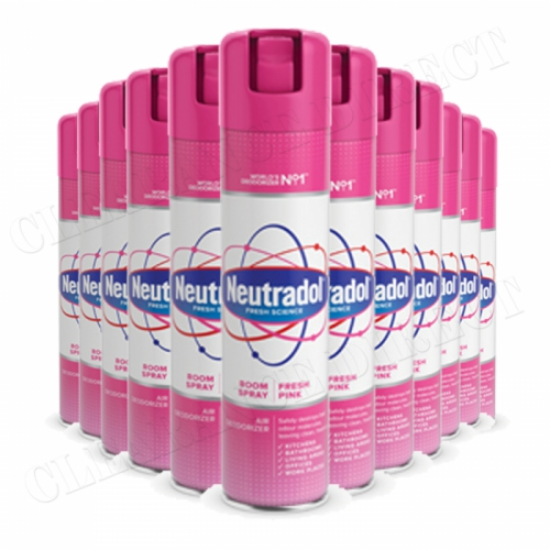 12 x Neutradol Fresh Pink Odour Destroyer Air Freshner Room Spray 300ml