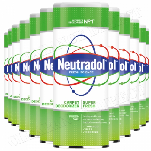 12 x Neutradol Super Fresh Carpet Odour Destroyer Air Freshner Vac n Clean 350g
