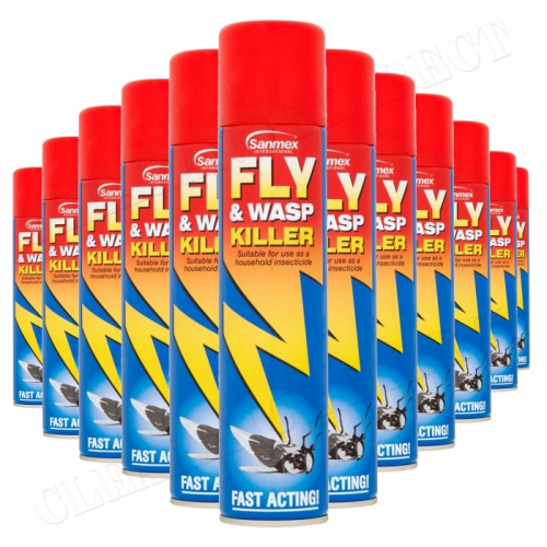 12 x Sanmex Fly & Wasp Killer Spray 300ml Household Insectide Power Pest Control