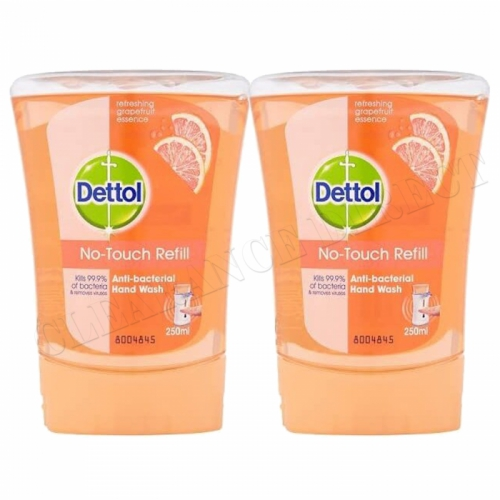2 X DETTOL NO TOUCH REFILL ANTI BACTERIAL GRAPEFRUIT HAND WASH KILLS 99.9% BACTERIA 250ML