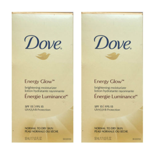 2 X Dove Energy Glow Brightening Moisturizer Lotion Normal-Dry Skin 50ml spf 15