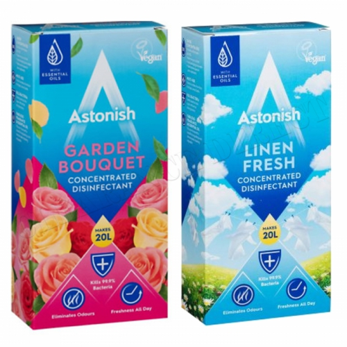 2 x ASTONISH CONCENTRATED DISINFECTANT 500ml GARDEN BOUQUET & LINEN FRESH