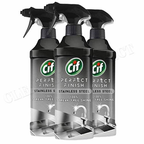 3 PACK CIF STAINLESS STEEL CLEANER PERFECT FINISH 100% STREAK FREE SHINE