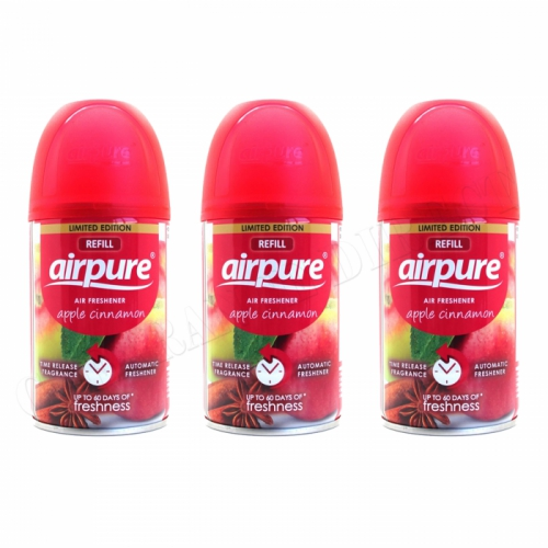 3 X AIRPURE FRESHMATIC AUTOMATIC SPRAY REFILLS 250ML APPLE CINNAMON AIRWICK