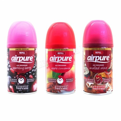 3 X AIRPURE FRESHMATIC AUTOMATIC SPRAY REFILLS 250 ML CHRISTMAS MIX AIRWICK