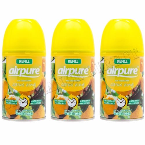 3 X AIRPURE FRESHMATIC AUTOMATIC SPRAY REFILLS 250ML CITRUS ZING AIRWICK