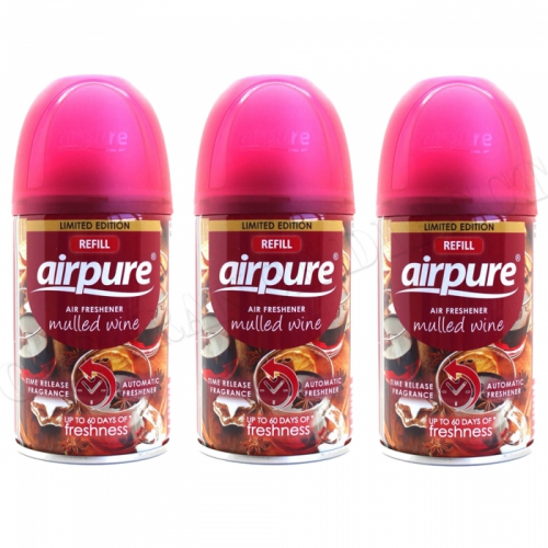 3 X AIRPURE FRESHMATIC AUTOMATIC SPRAY REFILLS 250ML MULLED WINE AIRWICK