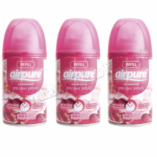 3 X AIRPURE FRESHMATIC AUTOMATIC SPRAY REFILLS 250ML PRECIOUS PETALS AIRWICK