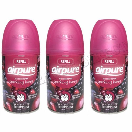3 X AIRPURE FRESHMATIC AUTOMATIC SPRAY REFILLS 250ML SPARKLING BERRY