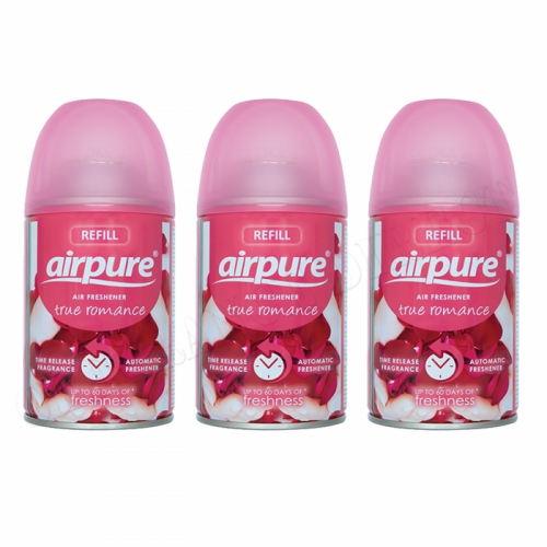 3 X AIRPURE FRESHMATIC AUTOMATIC SPRAY REFILLS 250ML TRUE ROMANCE AIRWICK NEW