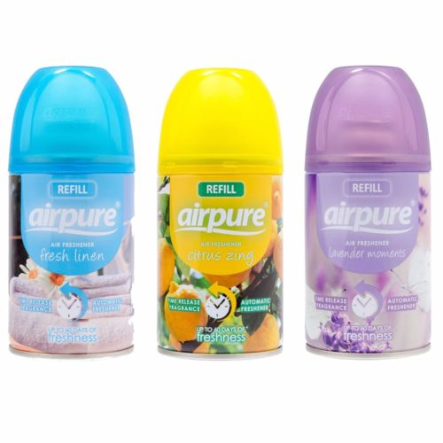 3 X AIRPURE FRESHMATIC AUTOMATIC SPRAY REFILLS MIXED SCENTS 250 ML  AIRWICK HOME