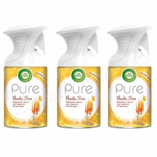 3 X AIRWICK AIR WICK PURE SPRAY BUCKS FIZZ CHRISTMAS FRESHENER SCENT 250ML