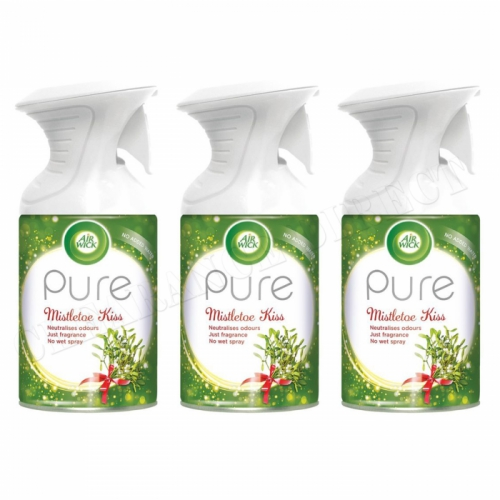 3 X AIRWICK AIR WICK PURE SPRAY MISTLETOE KISS CHRISTMAS FRESHENER SCENT 250ML