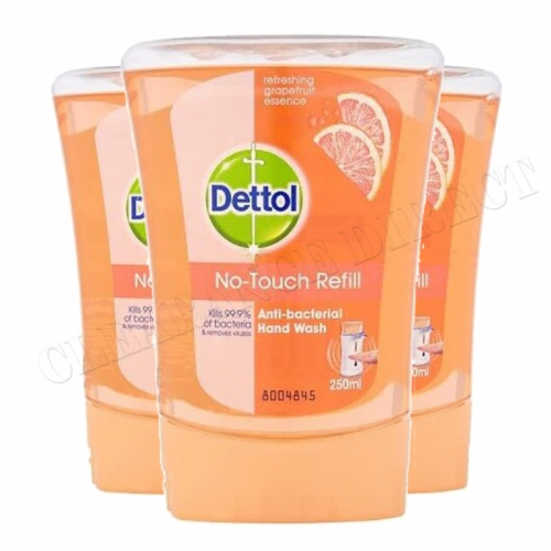 3 X DETTOL NO TOUCH REFILL ANTI BACTERIAL GRAPEFRUIT HAND WASH KILLS 99.9% BACTERIA 250ML