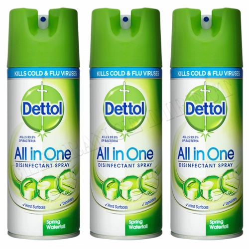 3 X Dettol All In One Disinfectant 400ML Spring Waterfall Kills 99.9% Bacteria