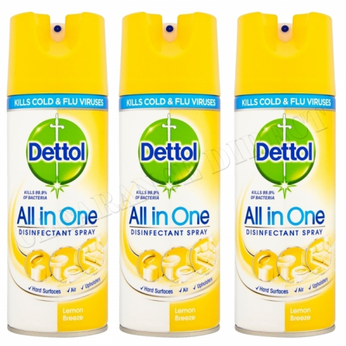 3 X Dettol All In One Disinfectant Spray 400ML Lemon Breeze Kills 99.9% Bacteria