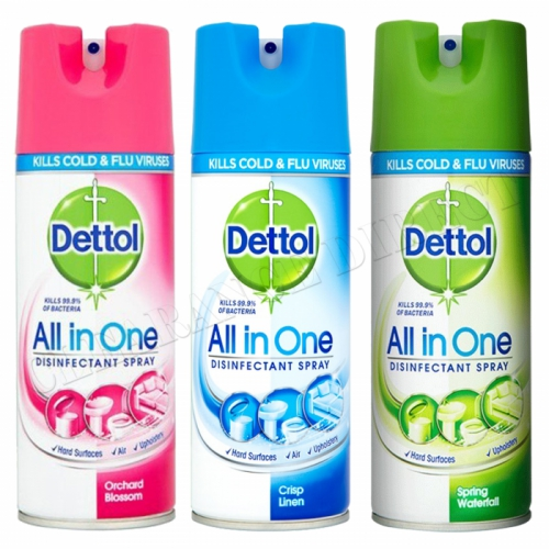 3 X Dettol All In One Disinfectant Spray 400ML MIxed Pack Kills 99.9% Bacteria